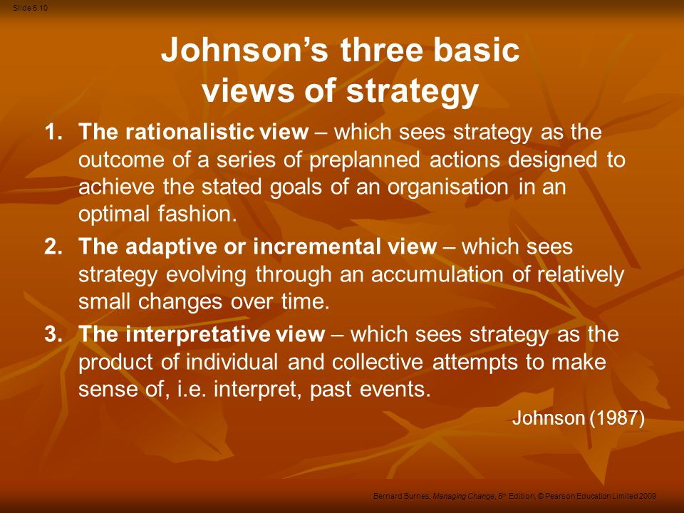 Johnson's three basic views of strategy