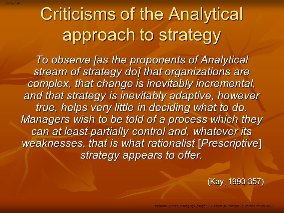 Criticisms of the Analytical approach to strategy