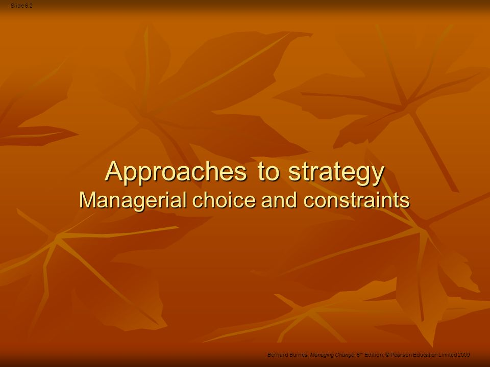 Approaches to strategy Managerial choice and constraints