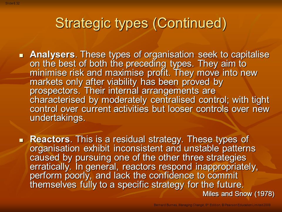 Strategic types (Continued)