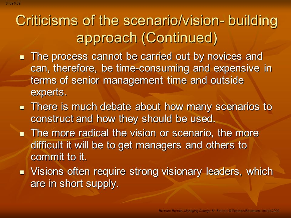 Criticisms of the scenario/vision- building approach (Continued)