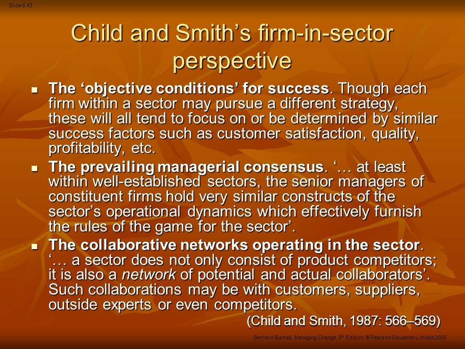 Child and Smith's firm-in-sector perspective