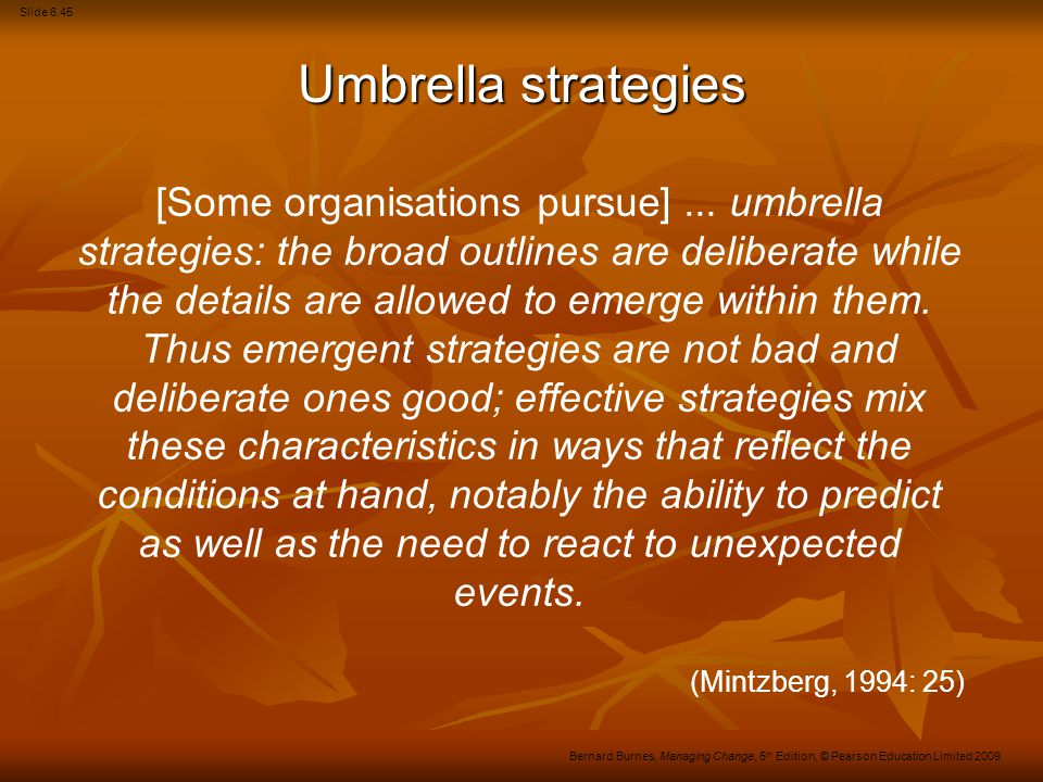 Umbrella strategies