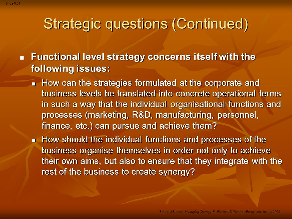 Strategic questions (Continued)