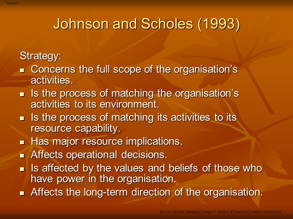 Johnson and Scholes (1993) Strategy: