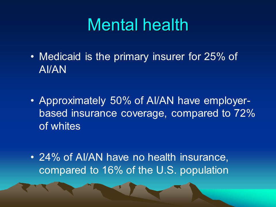 Mental health Medicaid is the primary insurer for 25% of AI/AN