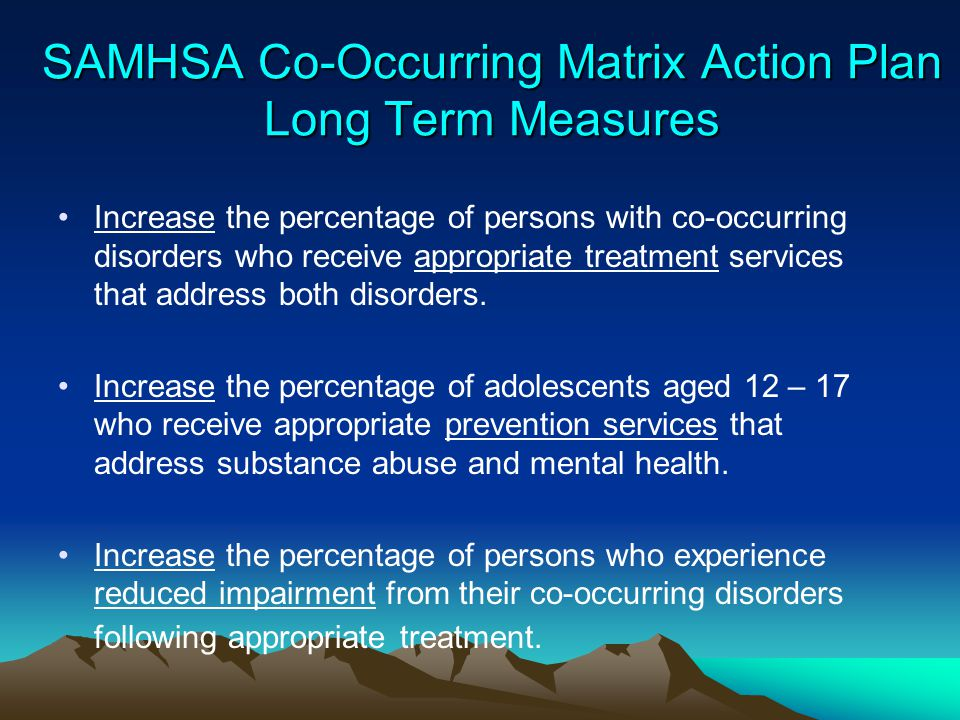 SAMHSA Co-Occurring Matrix Action Plan Long Term Measures