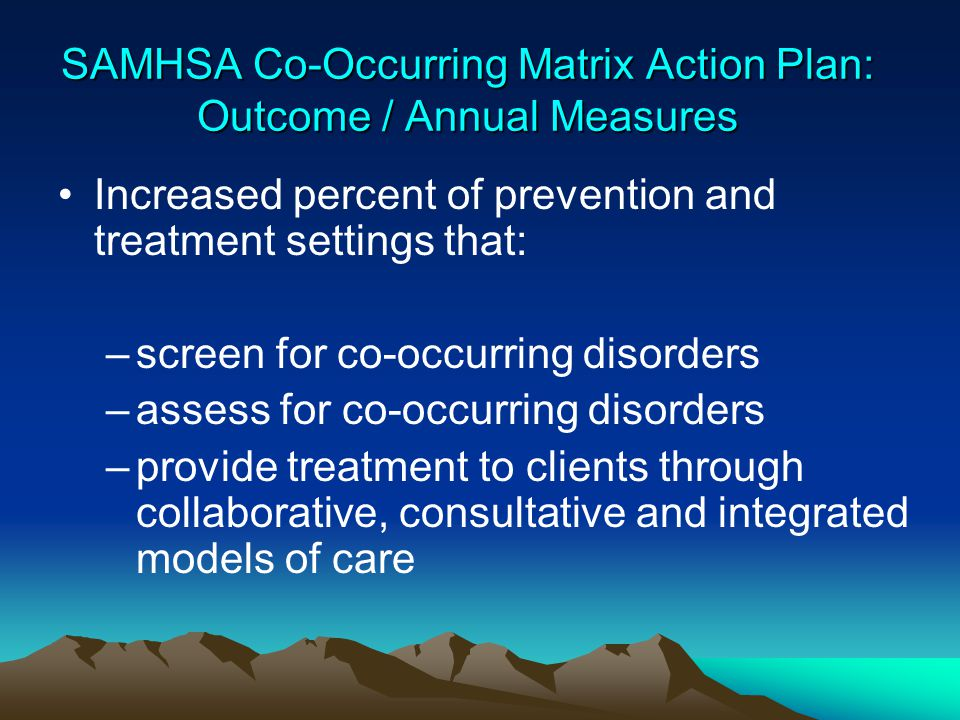 SAMHSA Co-Occurring Matrix Action Plan: Outcome / Annual Measures