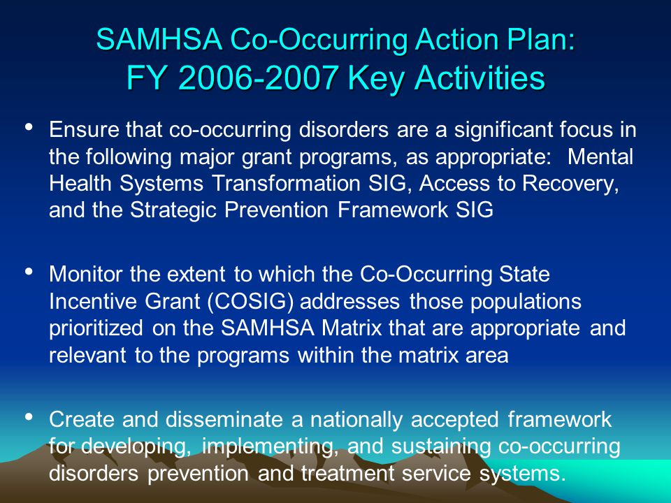 SAMHSA Co-Occurring Action Plan: FY 2006-2007 Key Activities