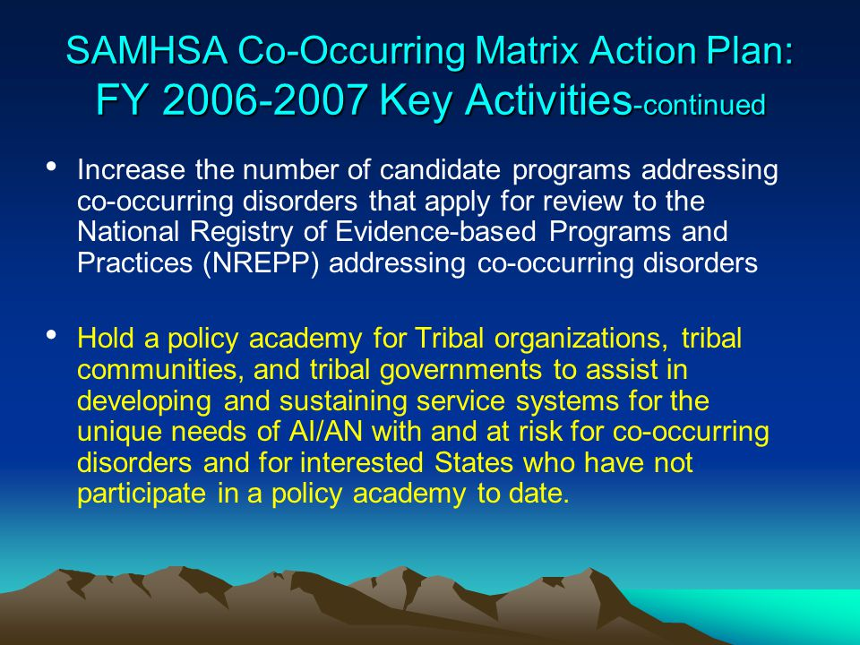 SAMHSA Co-Occurring Matrix Action Plan: FY 2006-2007 Key Activities-continued