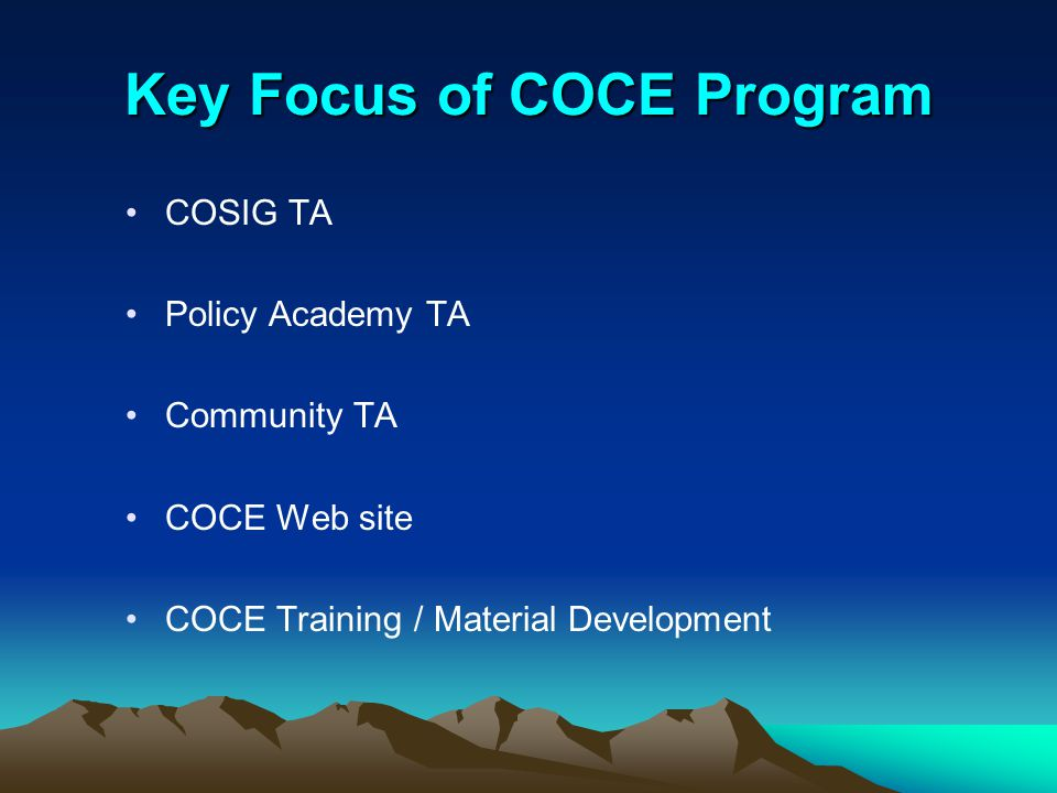 Key Focus of COCE Program