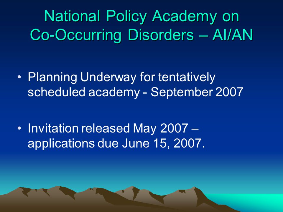 National Policy Academy on Co-Occurring Disorders – AI/AN