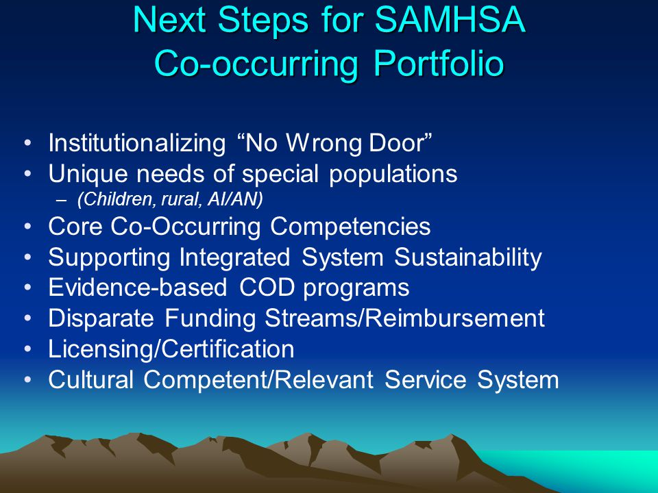Next Steps for SAMHSA Co-occurring Portfolio