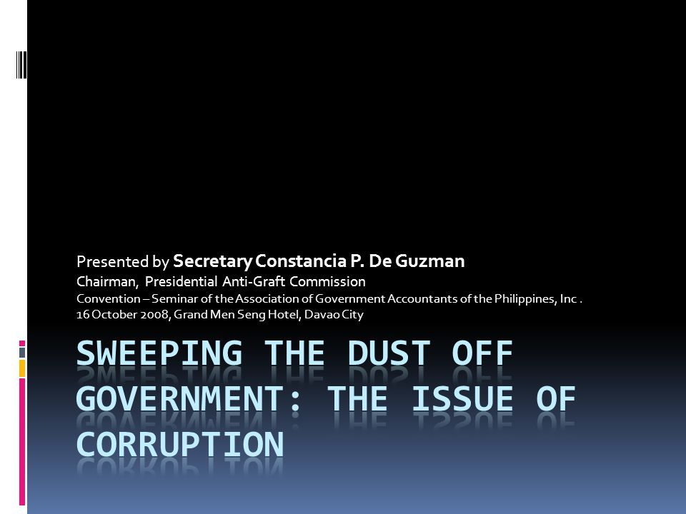 Sweeping the dust off government: the issue of corruption