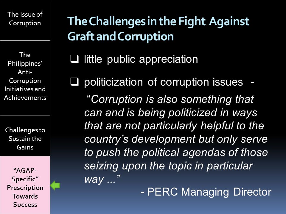 The Challenges in the Fight Against Graft and Corruption