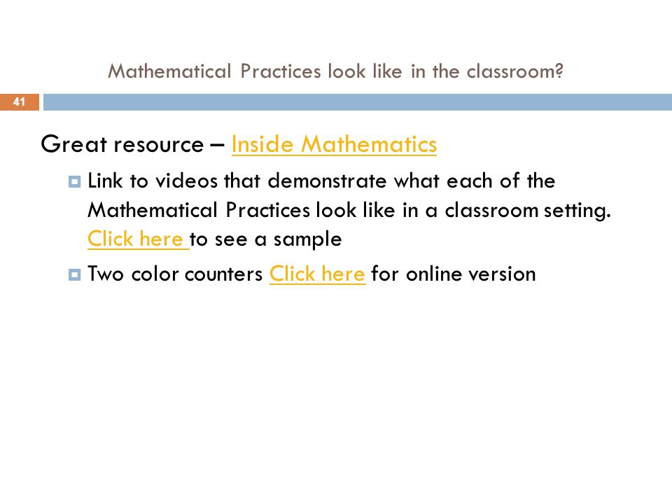 Mathematical Practices look like in the classroom