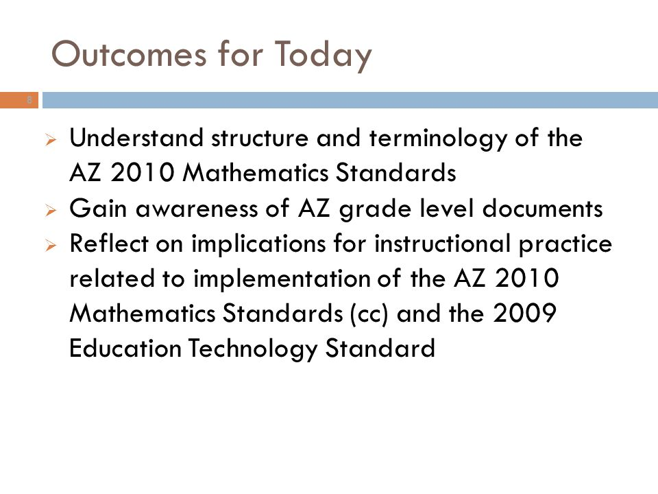 Outcomes for Today Understand structure and terminology of the AZ 2010 Mathematics Standards. Gain awareness of AZ grade level documents.