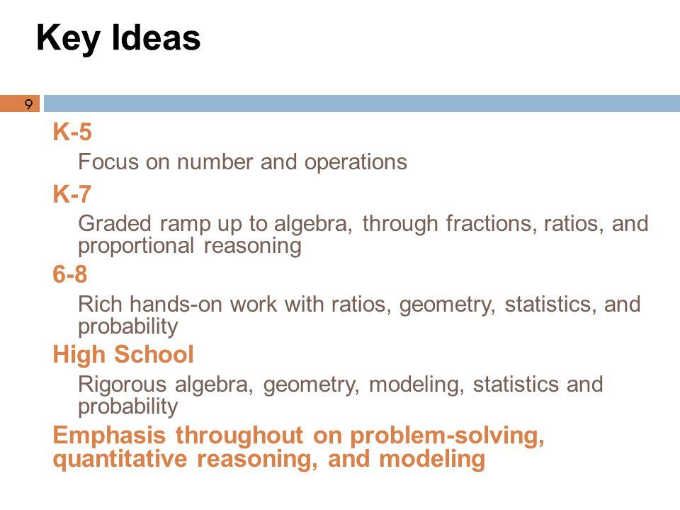 Key Ideas K-5 K-7 6-8 High School