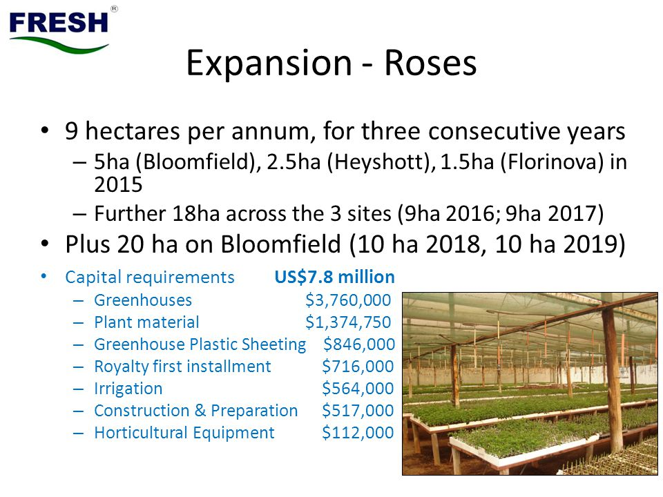 Expansion - Roses 9 hectares per annum, for three consecutive years