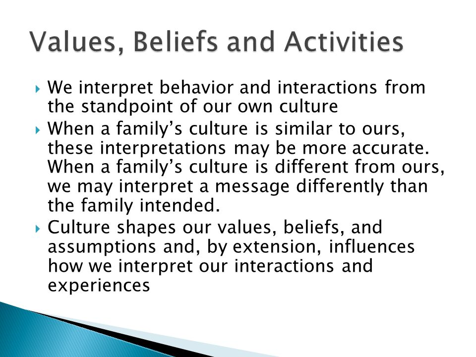 Values, Beliefs and Activities
