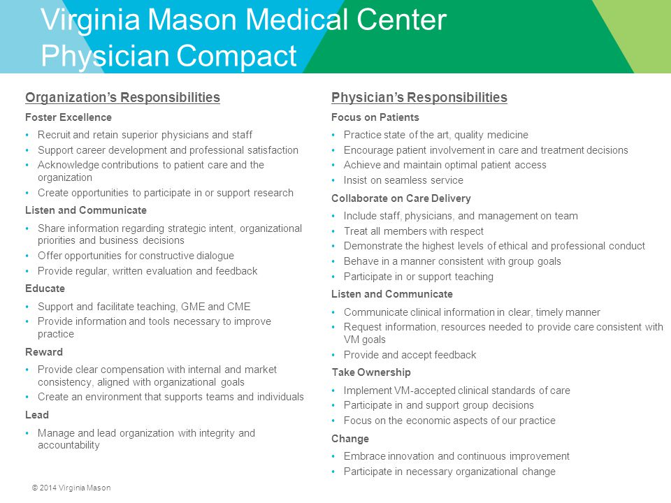 Virginia Mason Medical Center Physician Compact