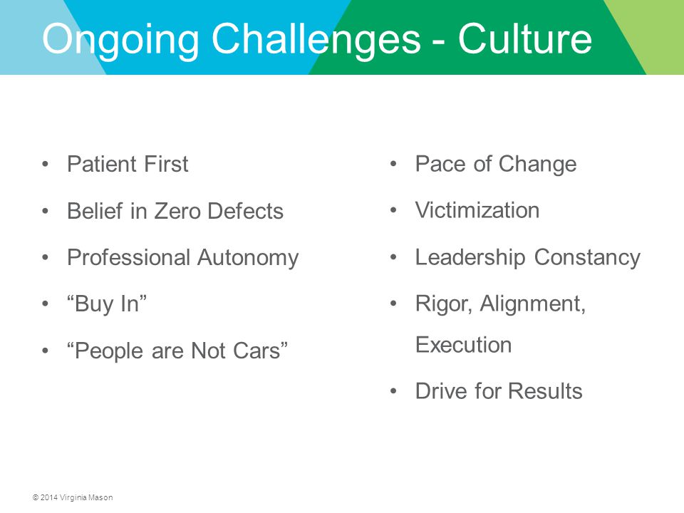 Ongoing Challenges - Culture