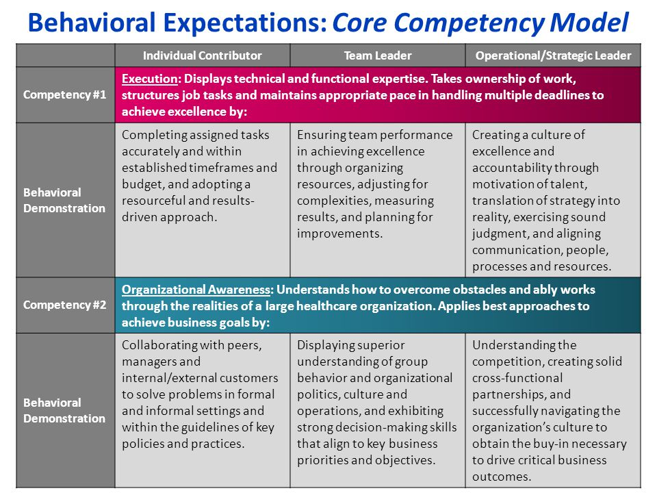 Behavioral Expectations: Core Competency Model