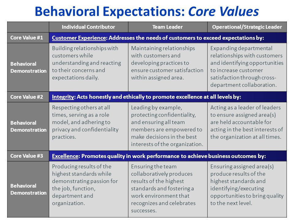 Behavioral Expectations: Core Values