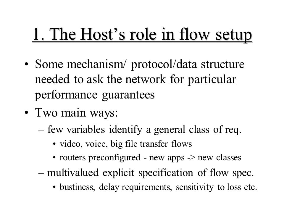 1. The Host's role in flow setup