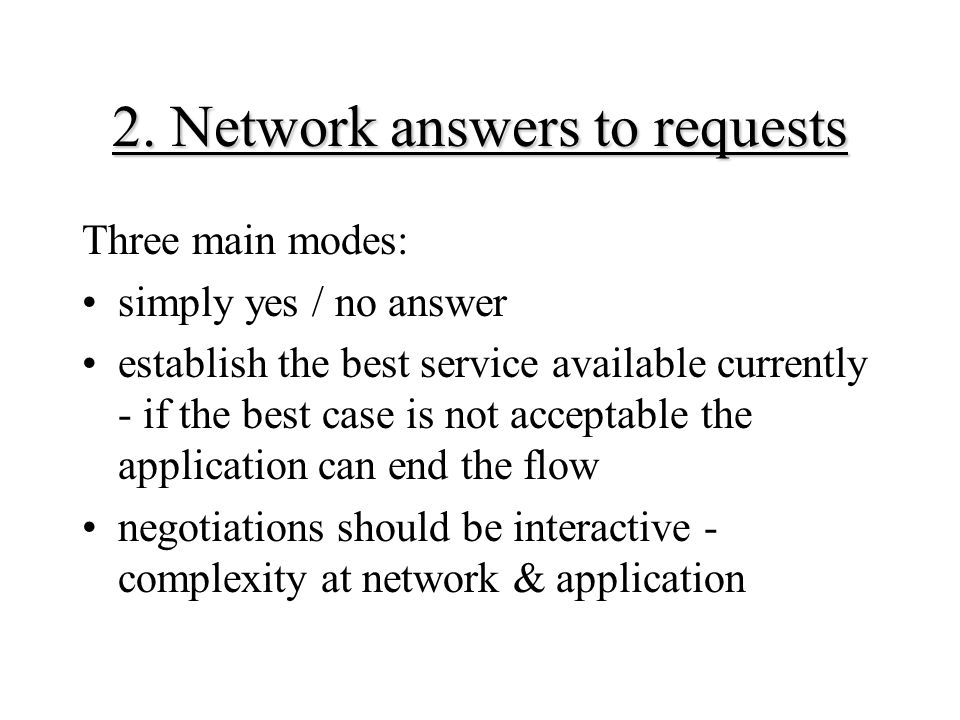 2. Network answers to requests