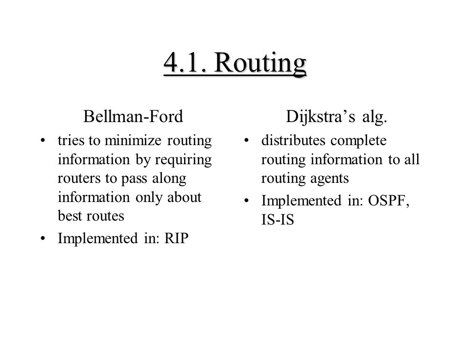 4.1. Routing Bellman-Ford Dijkstra's alg.