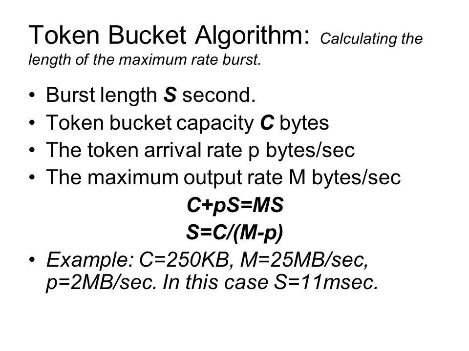 Token Bucket Algorithm: Calculating the length of the maximum rate burst.