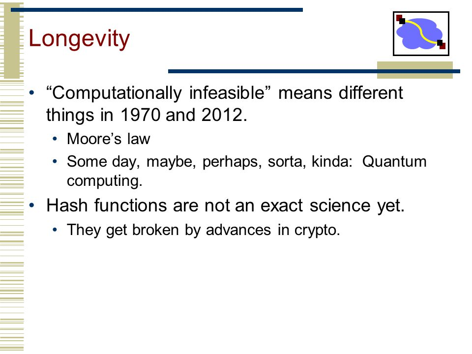 Longevity Computationally infeasible means different things in 1970 and 2012. Moore's law.