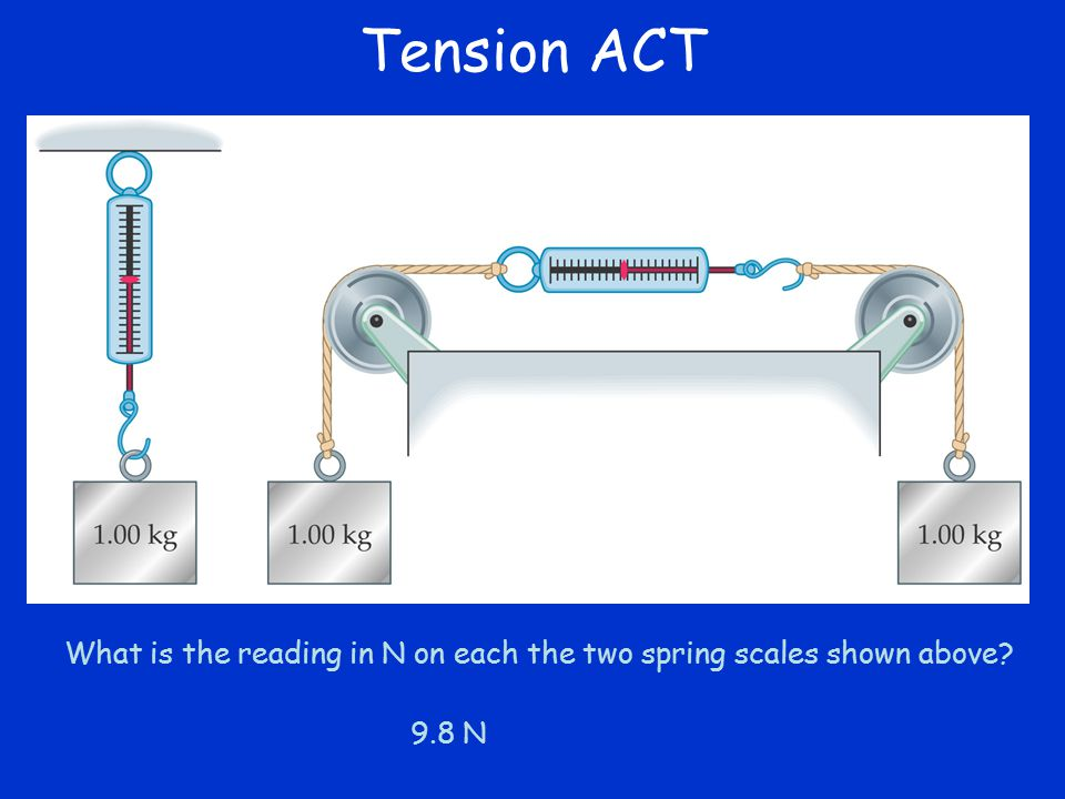 Tension ACT What is the reading in N on each the two spring scales shown above 9.8 N