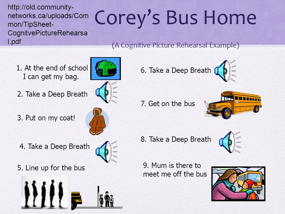 Corey's Bus Home (A Cognitive Picture Rehearsal Example)