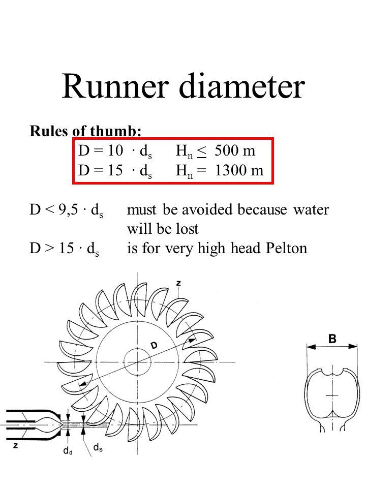 Runner diameter Rules of thumb: D = 10 · ds Hn < 500 m