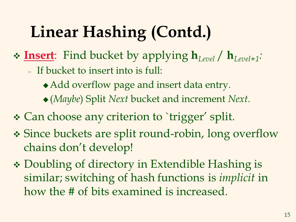 Linear Hashing (Contd.)