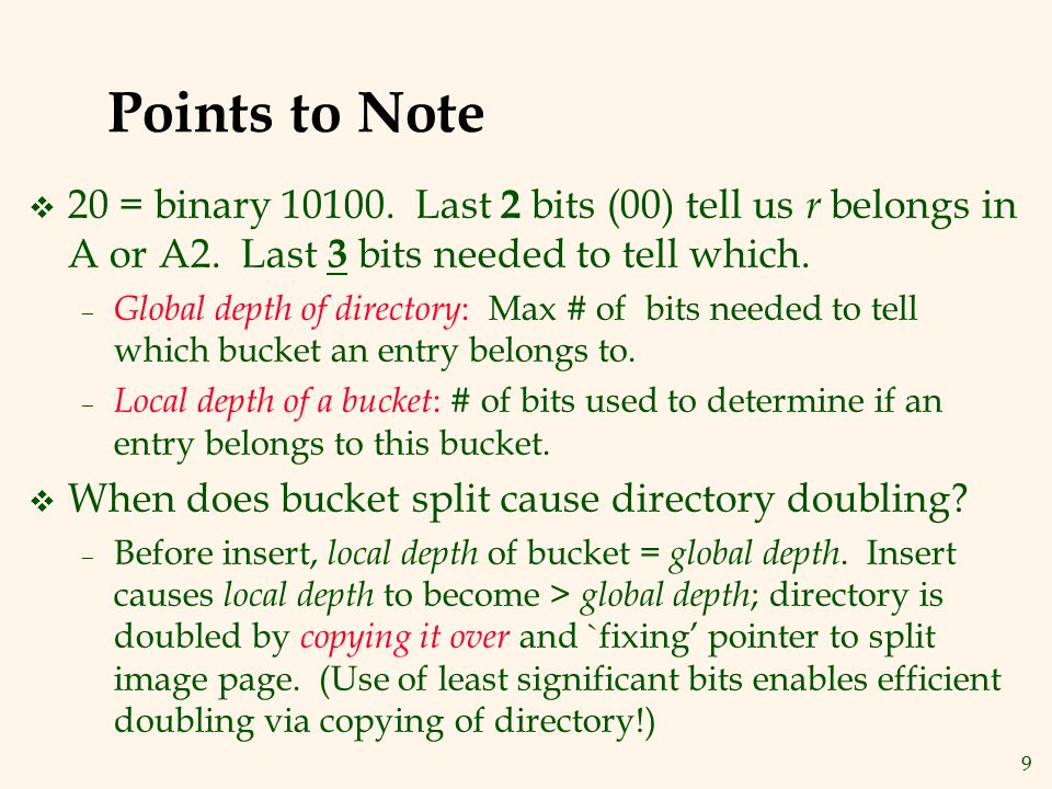Points to Note 20 = binary 10100. Last 2 bits (00) tell us r belongs in A or A2. Last 3 bits needed to tell which.