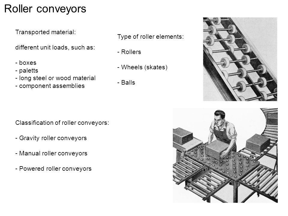 Roller conveyors Transported material: Type of roller elements: