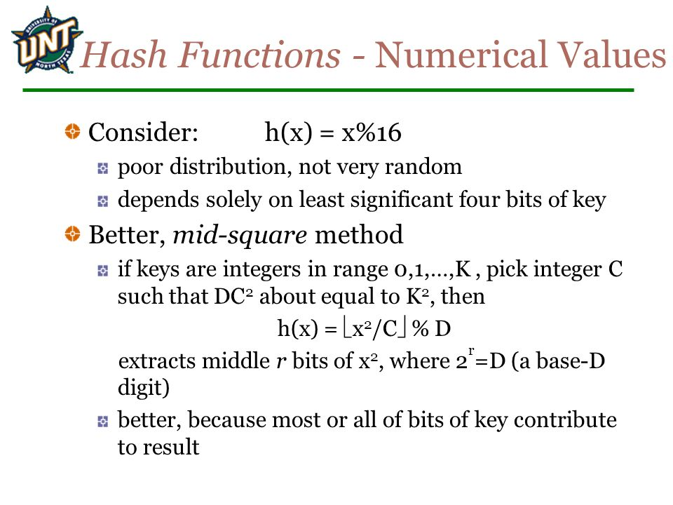 Hash Functions - Numerical Values