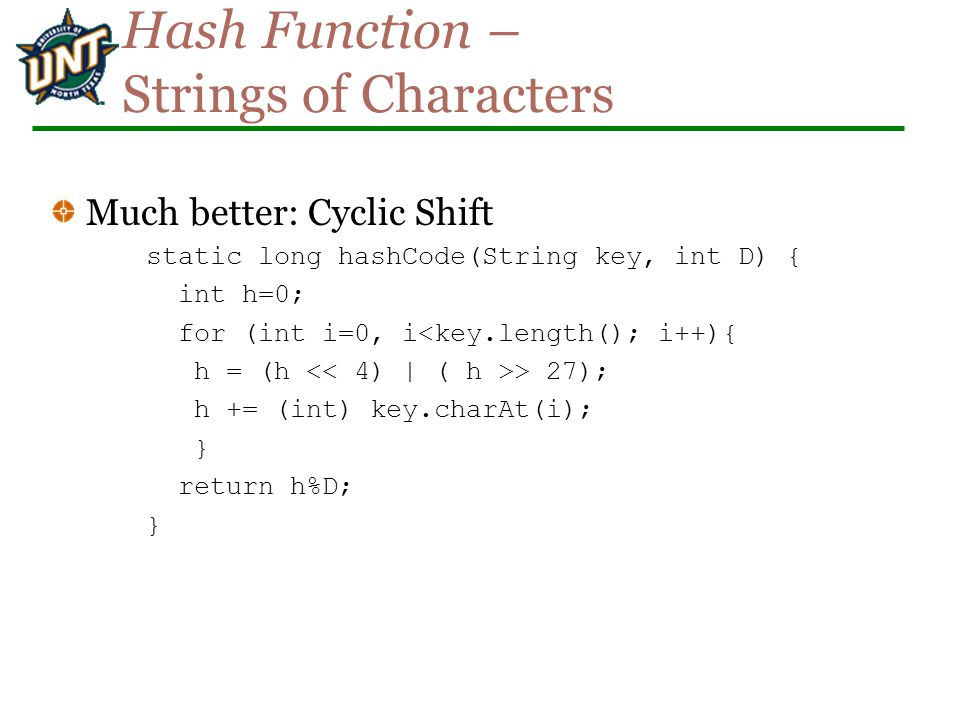 Hash Function – Strings of Characters