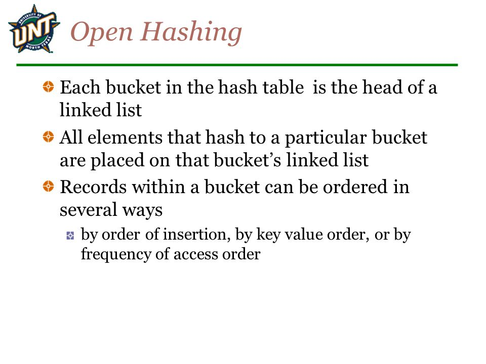 Open Hashing Each bucket in the hash table is the head of a linked list.