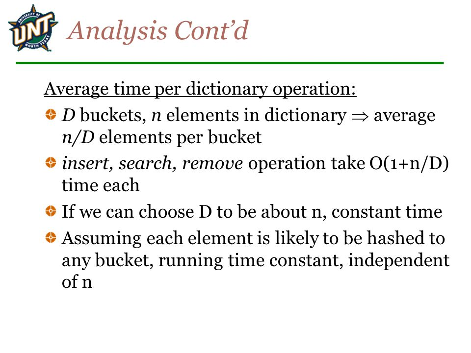 Analysis Cont'd Average time per dictionary operation: