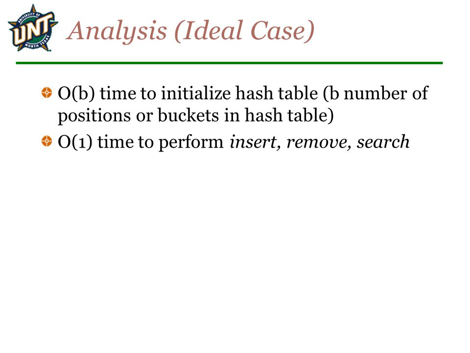 Analysis (Ideal Case) O(b) time to initialize hash table (b number of positions or buckets in hash table)