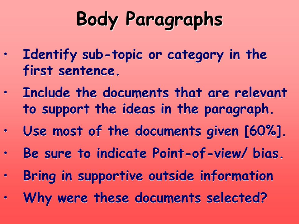 Body Paragraphs Identify sub-topic or category in the first sentence.