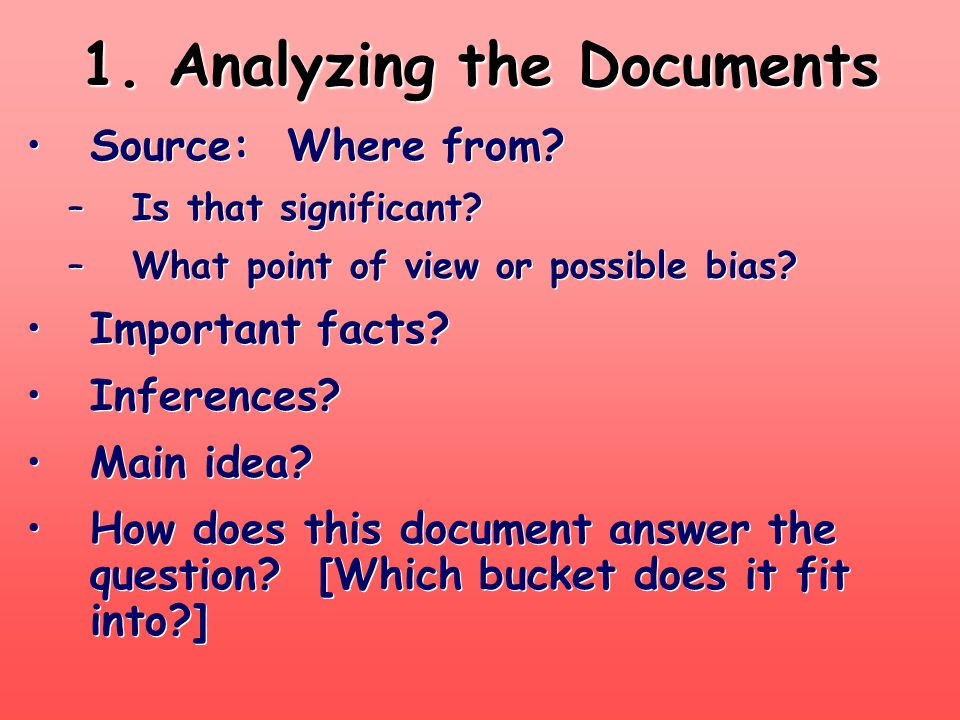 1. Analyzing the Documents