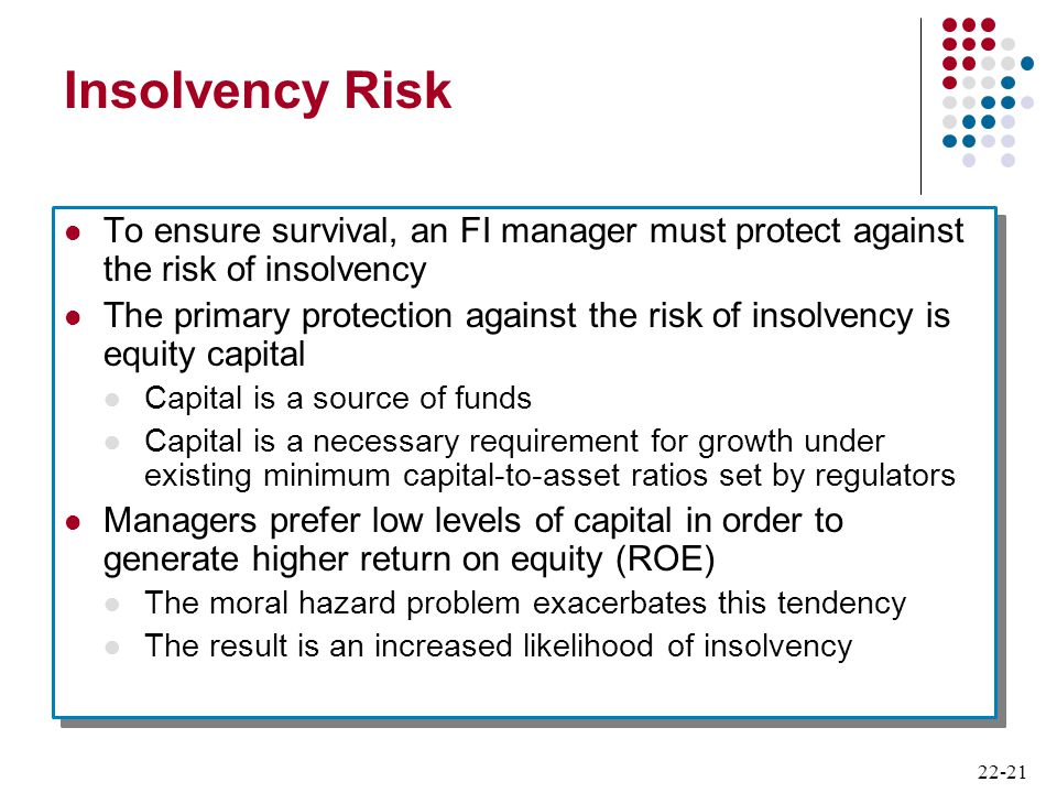 Insolvency Risk To ensure survival, an FI manager must protect against the risk of insolvency.