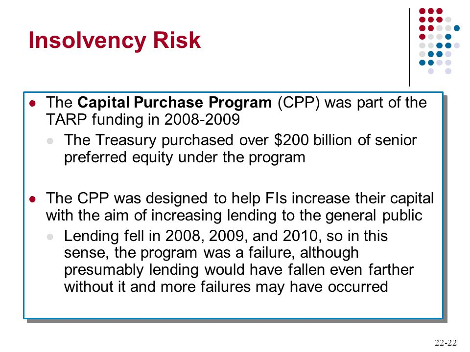 Insolvency Risk The Capital Purchase Program (CPP) was part of the TARP funding in 2008-2009.