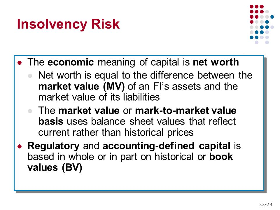 Insolvency Risk The economic meaning of capital is net worth