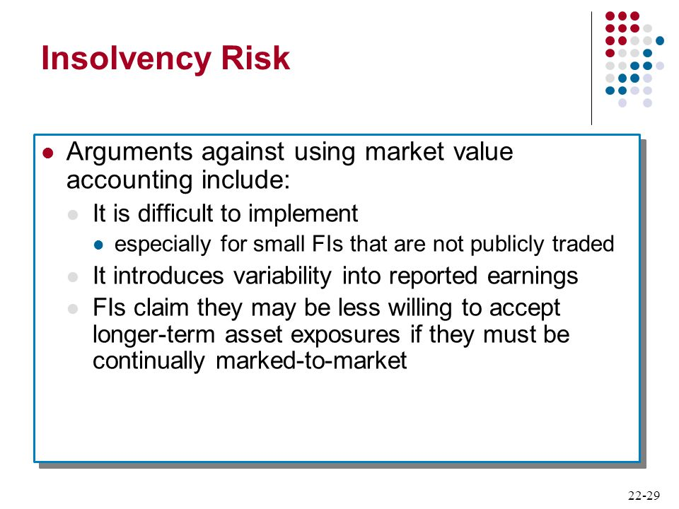 Insolvency Risk Arguments against using market value accounting include: It is difficult to implement.